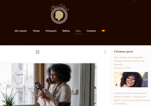 afro natural website in Spanish