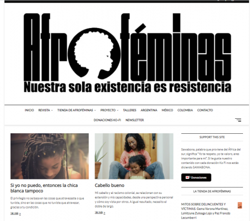 Afrofemininas website Black Hair blog in Spanish